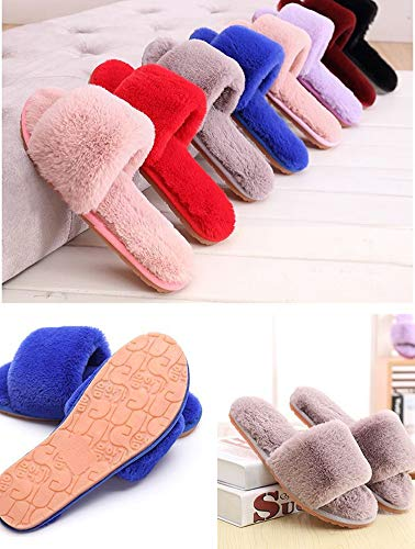 Cozy Fleece Shoes Slippers House Plush Flops Flip Women's Spa Gray Indoor dagwcx