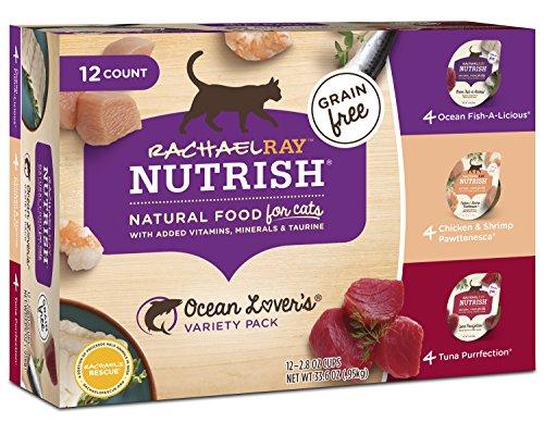 Rachael Ray Nutrish Wet Cat Food, Ocean Lovers Variety Pack, Grain Free, 2.8 oz tub, Pack of 12