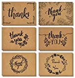 120 Thank You Cards with Brown Kraft Envelopes and Stickers - Elegant 6 Designs Kraft Paper Bulk Blank Notes for Wedding, Business, Formal, Baby Shower and All Occasions 4x6 Inch