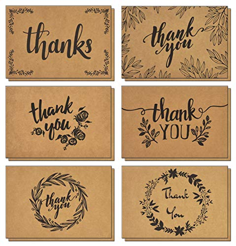 120 Thank You Cards with Brown Kraft Envelopes and Stickers - Elegant 6 Designs Kraft Paper Bulk Blank Notes for Wedding, Business, Formal, Baby Shower and All Occasions 4x6 Inch Blank on Inside/Back -