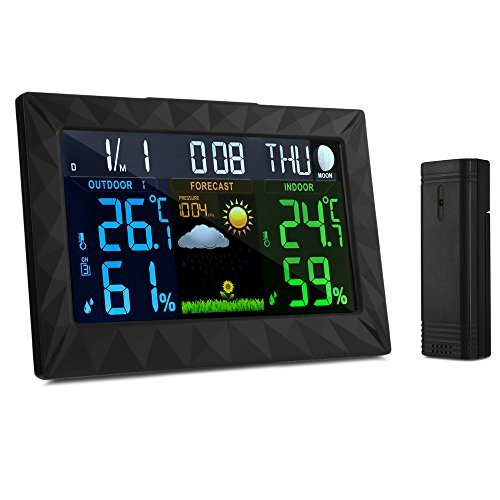 GBTIGER Wireless Weather Station, Indoor Outdoor Backlight Temperature Humidity Monitor Forecast Stations Color Alarm Clock with Outdoor Remote Sensor