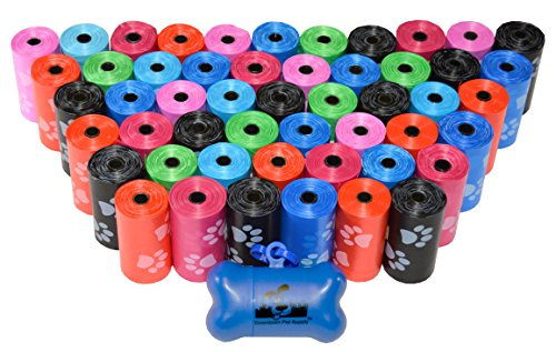 960 Pet Waste Bags, Dog Waste Bags, Bulk Poop Bags on a roll, Clean up poop bag refills - (Color: Rainbow of Colors with paw prints) + FREE Bone Dispenser, by Downtown Pet Supply ()