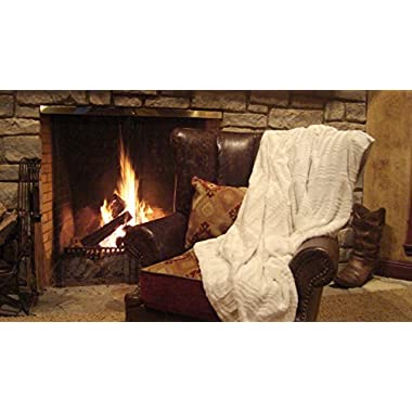 Plush Oversized and Warm Faux Fur and Microfiber Throw Blanket 60  X 70  (White)