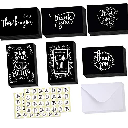48 Thank You Cards of Ohuhu, 6 Designs of Chalkboard Thank You Greeting Card, Blank Insides Black Bulk Note Cards for Your Wedding, Baby Shower, Business - Include Envelopes and Stickers - 4 x 6 Inch