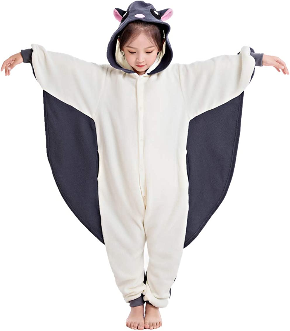 NEWCOSPLAY Unisex Children Sloth and Flying Squirrel Pyjamas Halloween Kids Onesie Costume