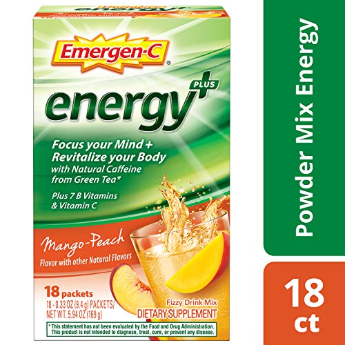 Emergen-C Energy+ (18 Count, Mango-Peach Flavor) Dietary Supplement Drink Mix with Caffeine, 0.33 Ounce Powder Packets