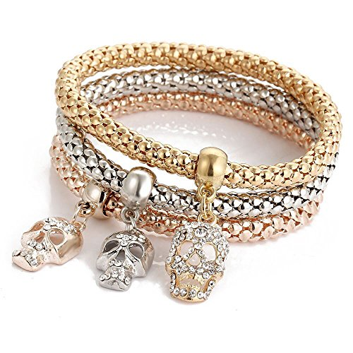 3Pcs Stretch Multilayer Rhinestone Bangle Bracelets Gold Silver Rose Gold Plated Corn Chain Tricolor Crystal Charms Gifts for Women Girls Lover Anniversary Brithday Valentine's Day -