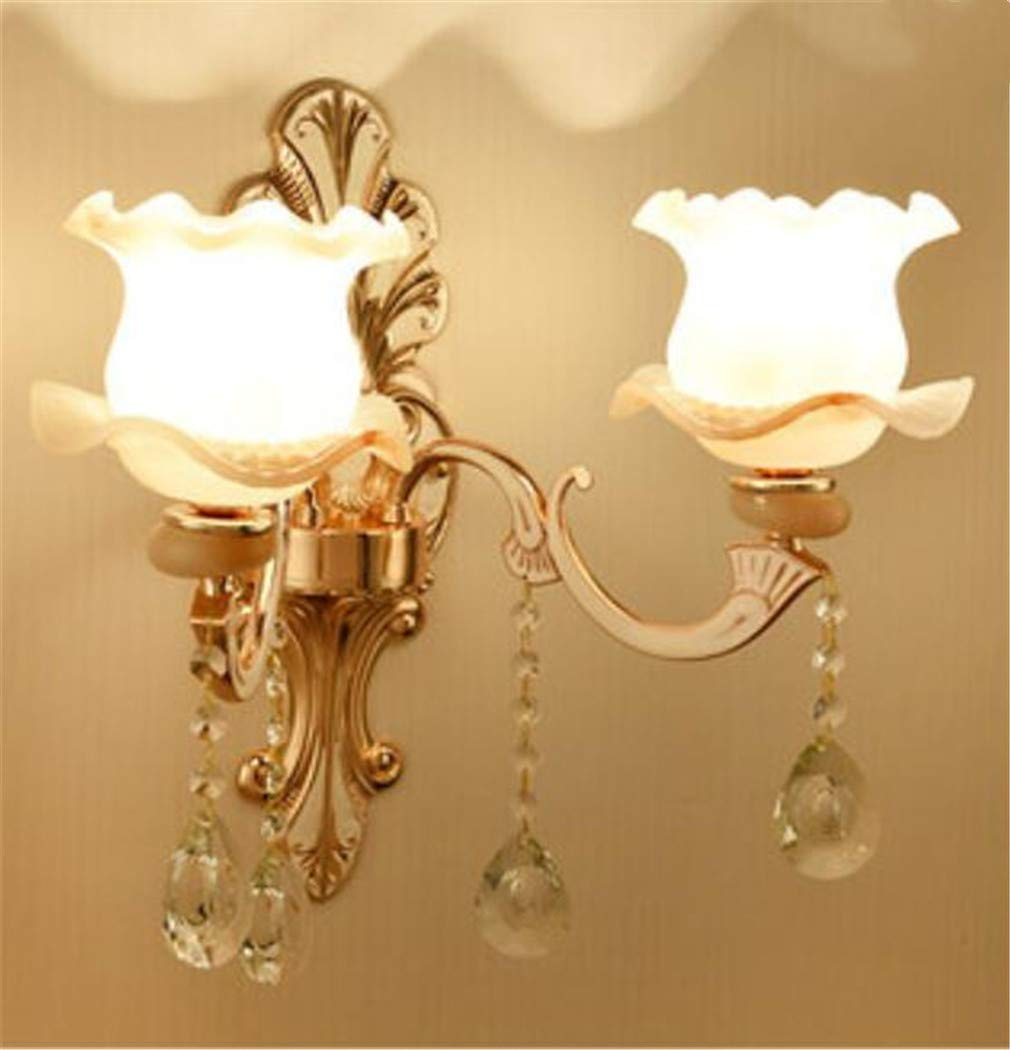 WandleuchtebeleuchtunginnenbeleuchtungschlafzimmerEuropäische Luxus-Zink-Legierung Wand Lampe Schlafzimmer Nachttischlampe Wohnzimmer Hintergrund Wand Korridor Korridor Doppelkristall Kristall Wandleu