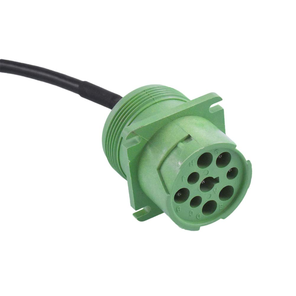 Ocstar J1708 to J1939 Adapter Cable SAE J1708 6 Pin Female Gray to J1939 9 Pin Male Green type2 for Truck Diagnostic GPS Trackers and Scan Tools