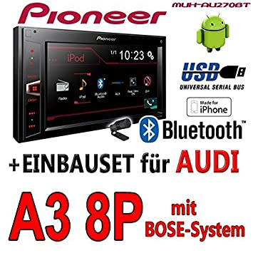 Audi A3 8p Bose Pioneer Mvh Av27 F8 M550bt Bluetooth 2din