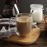HKKAIS 8.5OZ Glass Coffee Mug, Double Walled Tea