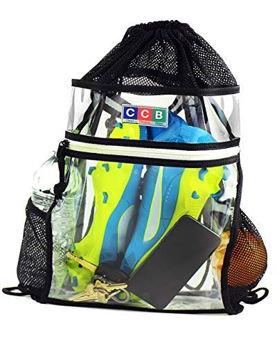 Clear Drawstring Backpack Stadium Security Approved - Durable Transparent Bookbag for School, Music Festivals, Sporting Events, Travel, Gym, Work - with Mesh Side Pockets and Front Zipper -