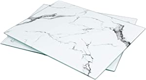 U HOME Glass Cutting Board 16 x 12 inch Set of 2, Decorative Square Marble Cutting Board for Kitchen with Tempered Glass White and Clear