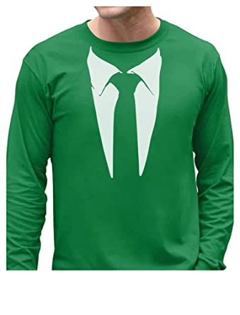 Amazon.com  Printed Suit   Tie Tuxedo - Men s Long Sleeve T-Shirt ... 72c8c8bfb