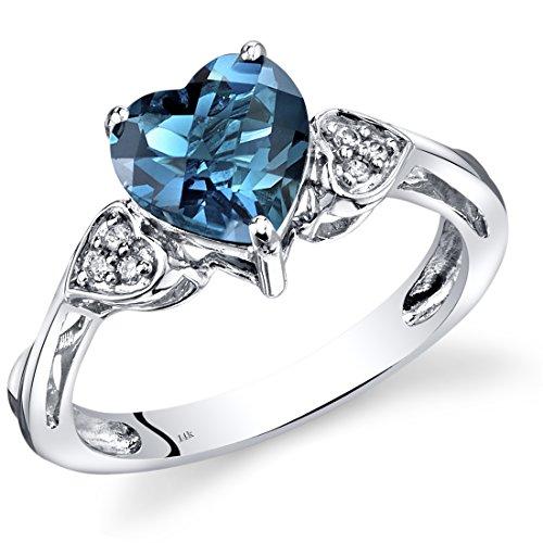 14K White Gold London Blue Topaz Heart Shape Diamond Ring Classic Style 2 Carats Total