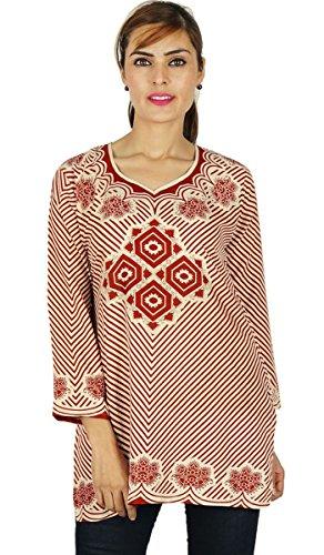 Manga llena Kurti Poliéster las mujeres usan ropa regalo para ella Beige y marrón
