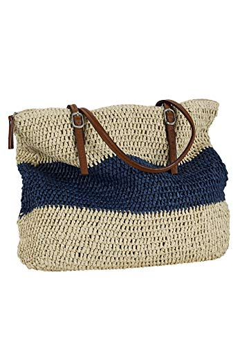 Ellos Women's Plus Size Zip Top Straw Bag - Navy Stripe, One Size ()