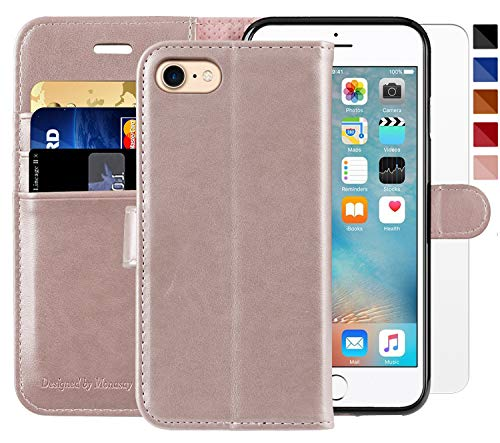 (iPhone 7 Wallet Case/iPhone 8 Wallet Case,4.7-inch,MONASAY [Glass Screen Protector Included] Flip Folio Leather Cell Phone Cover with Credit Card Holder for Apple iPhone)