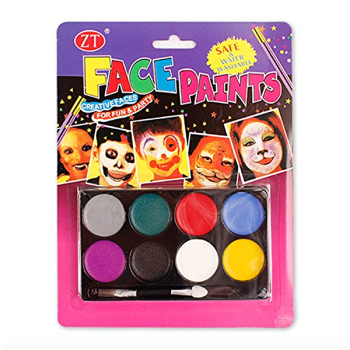 T&Z Face Painting Kit for Kids & Professionals 8 Color Palette, Non Toxic Safe Paint, Halloween Party Make up (Halloween Face Paint Ideas For Adults)