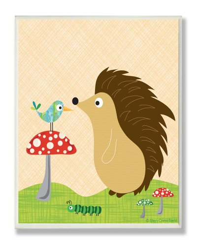 The Kids Room by Stupell Hedgehog with Bird on a Mushroom Rectangle Wall Plaque ()