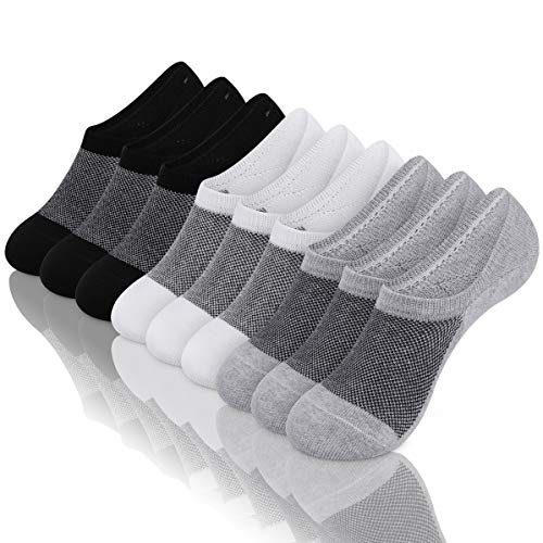Mens Low Cut No Show Socks Mesh Knit Ventilation Fresh Super Comfy Casual Non Slip Socks 3-9 Pairs ()