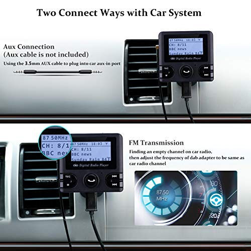 excelvan auto dab digital radio adapter fm transmitter. Black Bedroom Furniture Sets. Home Design Ideas
