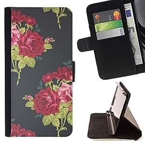 For Samsung Galaxy S4 IV I9500 Case , Vintage Vestido Moda Flores- la tarjeta de Crédito Slots PU Funda de cuero Monedero caso cubierta de piel