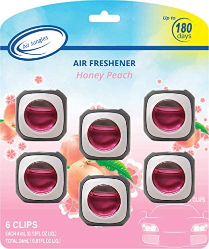 Honey Peach Scent Car Air Freshener Clip 6 Car Freshener Vent Clips 4ml Each Long Lasting Air Freshener for Car Up to 180 Days Car Refresher Odor Eliminator