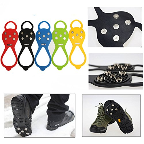 CAMTOA 1 Pair Anti-slip Snow Ice Shoe Rubber Slip Grip Spike Climbing Irons Crampons Cleats Blue