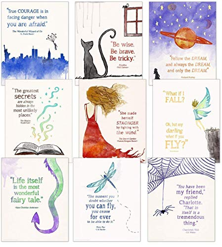 (Children's Literature Inspirational Quote Poster Set. Discount Classroom Bundle. Fine Art Paper, Laminated, or Framed. Multiple Sizes Available for Home, Office, or School.)