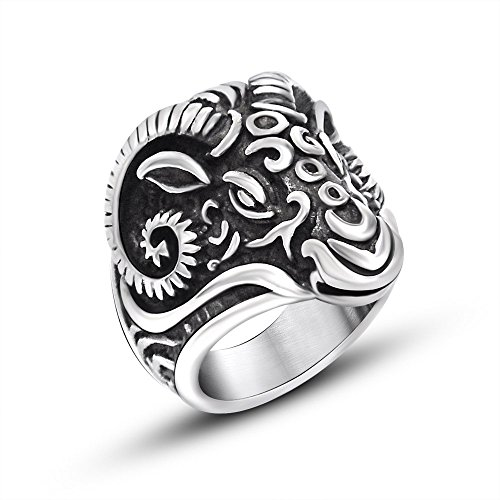 FANSING Jewelry Mens Punk Sheep Head Shaped Ring Stainless Steel Size 12 (Aries Ring)
