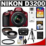 Nikon D3200 Digital SLR Camera and 18-55mm G VR DX AF-S Zoom Lens (Red) with 16GB Card + Case + Filter + Tripod + Telephoto and Wide-Angle Lenses + Accessory Kit, Best Gadgets