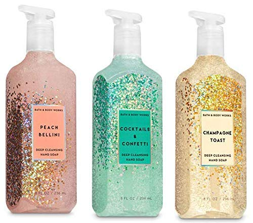 (Bath and Body Works 3 Pack Deep Cleansing Hand Soap 8 Oz. Peach Bellini, Cocktails and Confetti and Champagne Toast. )