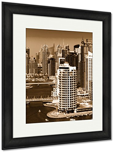 - Ashley Framed Prints Amazing Colorful Dubai Marinskyline Water Canal Expensive Yachts, Wall Art Home Decoration, Sepia, 30x26 (Frame Size), Black Frame, AG5885539
