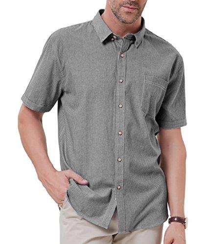 Dress Button Shirt Pinstripe Down (PAUL JONES Men's Vertical Striped Pinstripe Short Sleeve Dress Shirts Size M Black)
