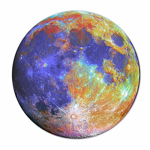 Price comparison product image Mouse Pad Non-Skid Rubber Pad Personalized Round Desktop Mousepad, Moon Painting design