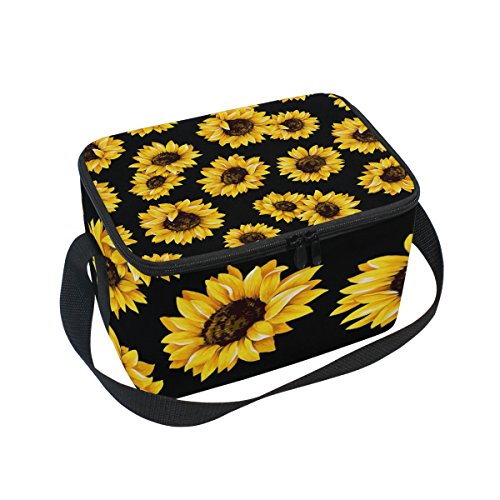 Use4 Retro Sunflower Floral Black Insulated Lunch Bag Tote Bag Cooler Lunchbox for Picnic School Women Men Kids