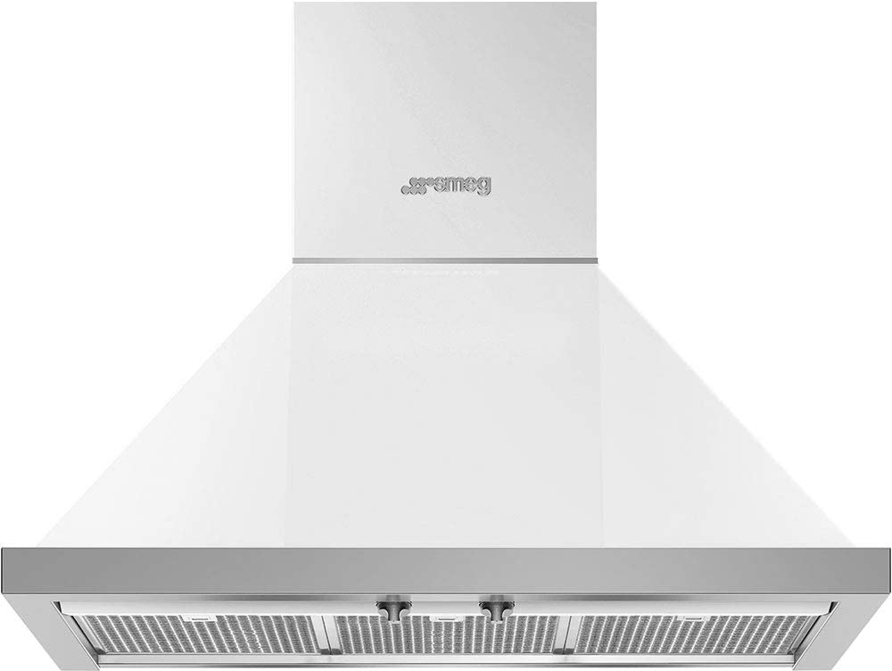 Smeg Portofino Series 30-Inch Wall Mount Ducted Chimney Hood with 600 CFM, Recirculating Option & LED Lights (White)