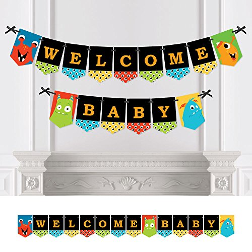Big Dot of Happiness Monster Bash - Little Monster Baby Shower Bunting Banner - Party Decorations - Welcome -