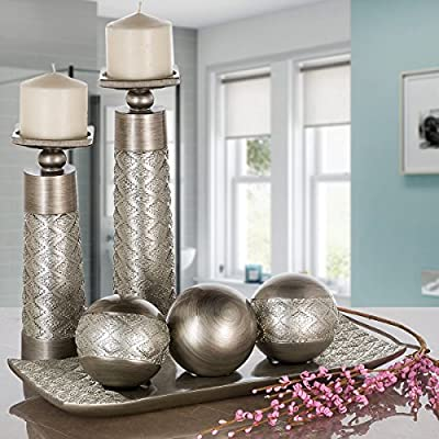 Dublin Decorative Tray and Orbs/Balls Set of 3, Centerpiece Bowl with Balls decorations Matching, Rustic Decorated Spheres Kit for Living Room or Dining/Coffee Table, Gift Boxed (Brushed Silver)