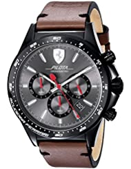 Scuderia Ferrari Mens PILOTA Quartz Stainless Steel and Leather Casual Watch, Color:Brown (Model: 0830392)
