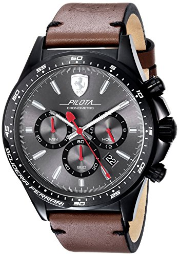 Scuderia-Ferrari-Mens-PILOTA-Quartz-Stainless-Steel-and-Leather-Casual-Watch-ColorBrown-Model-0830392