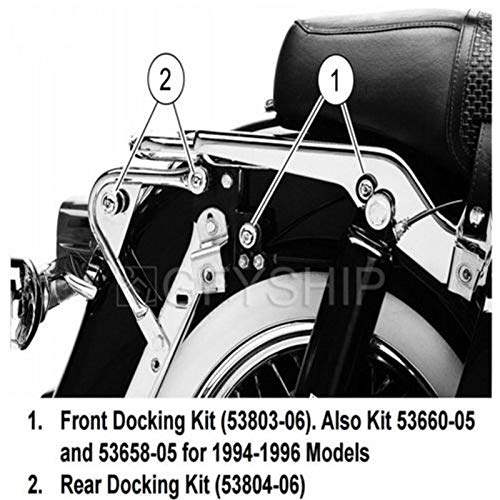 Replace Part Number 53803-06,Also kit 53660-05 and 53658-05 Compatible with 1994-1996 models XFMT Detachables Front Docking Kit Compatible with Harley Touring Models 1997-2008 1997