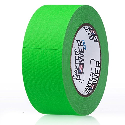 Real Professional Grade Gaffer Tape by Gaffer Power - Made in The USA Green Fluorescent 2 in X 30 Yds - Heavy Duty Gaffers Tape - Non-Reflective -Multipurpose - Better Than Duct Tape
