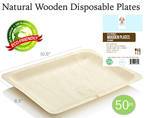 "Disposable Wooden Plates All Natural Eco-Friendly Compostable and Biodegradable Ideal Size for Main Course. Great for Parties, Weddings & Catering, 10.5"" x 8.5"" 50pc Party Plates, GO GREEN! (Eco Friendly Natural)"