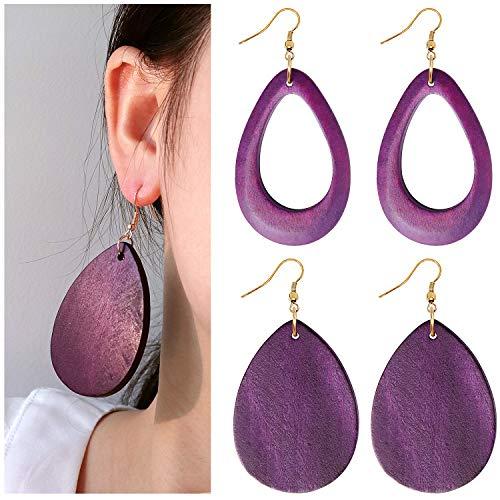 (Wowanoo Wood Earrings Natural Wooden Teardrop Earrings Geometric Lightweight Drop Earrings for Women (DroPurple))
