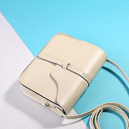 Vintage Crossbody, AgrinTol Vintage Purse Bag Leather Crossbody Shoulder Messenger Bag (Beige) by Agrintol_Fashion Bags (Image #3)