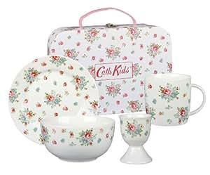 Cath Kidston Vajilla de desayuno en porcelana con maletín, diseño de flores