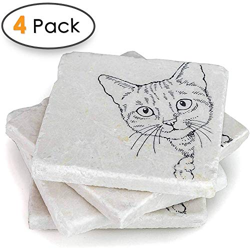 Cat Coasters for Drinks -Crazy Cat Lady Gifts, Cat Lover Gifts, Wedding Favors - Coaster Set of 4 ()