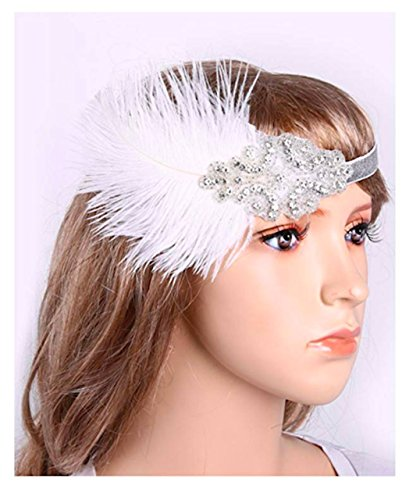 P-LINK Feather Headpiece Flapper Headband Roaring Hair Accessories Vintage Gatsby Costume Belly Dance Gypsy Egyptian (White) Costumes Satin White Costume Headdress Wigs Clothing Hair Mens Wig (Egyptian Man Adult Wig)